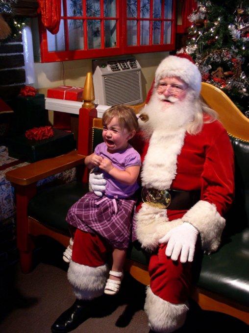 Дети, испугавшиеся Деда Мороза. Фото