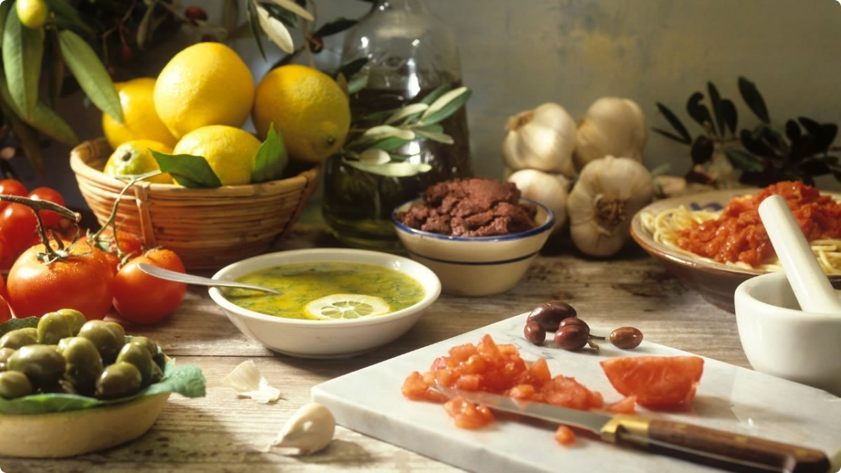 Characteristics of the Mediterranean Diet Traditional Mediterranean meals feature foods grown all around the Mediterranean Sea and enjoyed along with lifestyle